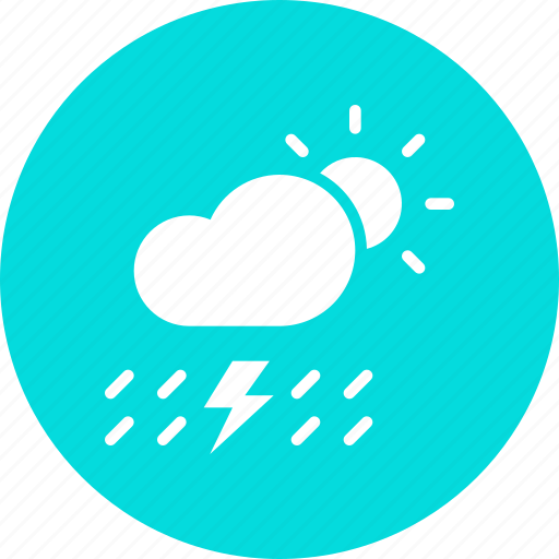 cloud, daytime, lightning, rain, rainfall, sun, thunder icon