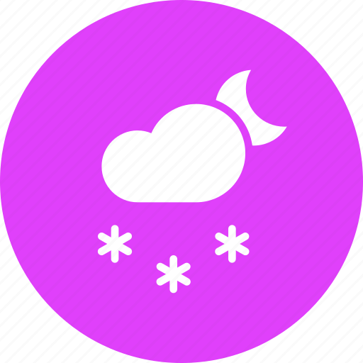 cloud, forecast, moon, night, snow, snowfall, weather icon