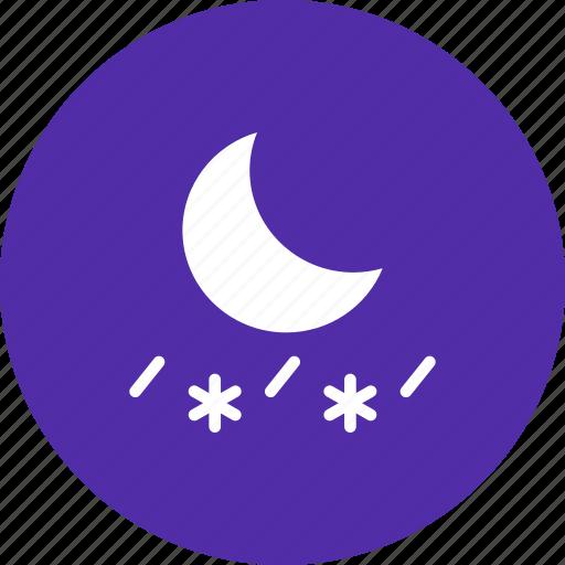 forecast, moon, night, rain, rainfall, sleet, snow icon
