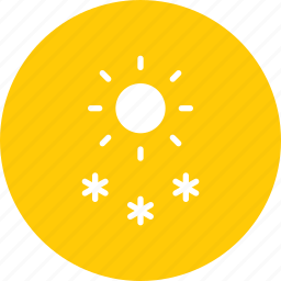 day, daytime, forecast, snow, snowfall, sun, weather icon