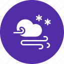 cloud, forecast, snow, snowfall, storm, wind icon