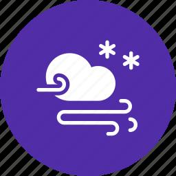 cloud, forecast, snow, snowfall, storm, wind icon
