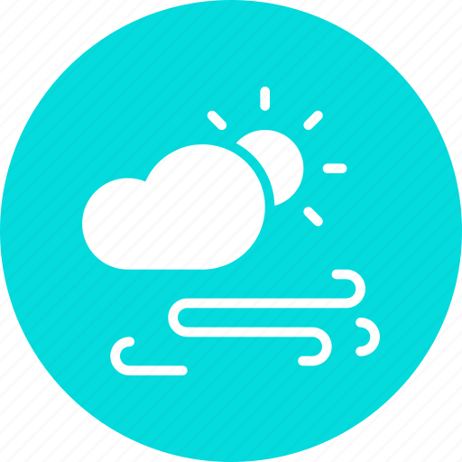 cloud, day, daytime, forecast, storm, sun, wind icon