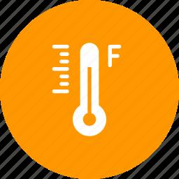 degree, fahrenheit, forecast, measurement, reading, temperature, thermometer icon