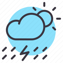 cloud, daytime, lightning, rain, rainfall, sun, thunder icon
