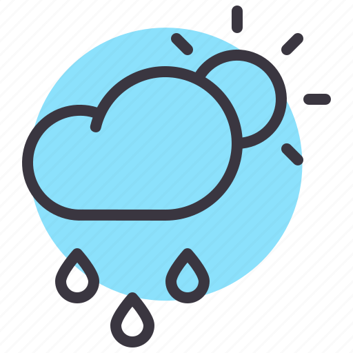 cloud, day, daytime, drizzle, forecast, rainfall, sun icon