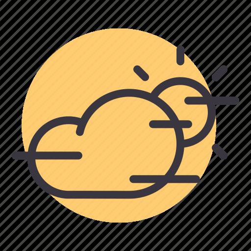 cloud, daytime, fog, foggy, forecast, mist, sun icon