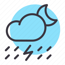 cloud, lightning, moon, night, rain, rainfall, thunder icon