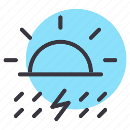 day, daytime, lightning, rain, rainfall, sun, thunder icon