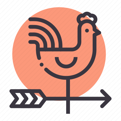 arrow, direction, forecast, pointer, rooster, vane, wind icon