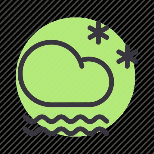 cloud, cloudy, fog, forecast, frost, mist, snow icon