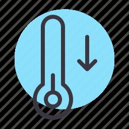 cold, decline, decrease, fall, lower, temperature, thermometer icon