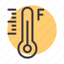degree, fahrenheit, forecast, measurement, reading, temperature, thermometer icon
