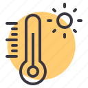 daytime, hot, reading, sun, sunlight, temperature, thermometer icon