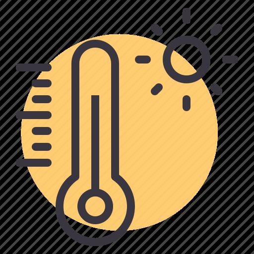 daytime, hot, reading, sun, sunlight, temperature, thermometer icon