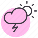cloud, day, daytime, lightning, rain, sun, thunder icon