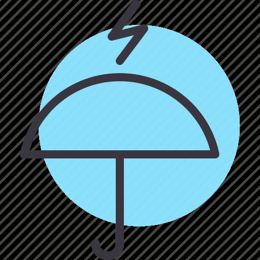 lightning, protection, rainfall, safety, thunder, umbrella icon