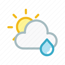cloud, clouds, cloudy, forecast, rain, sun, weather icon