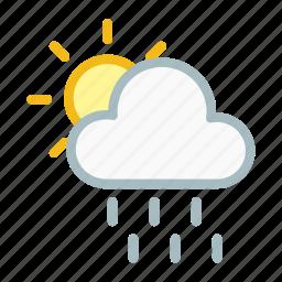 cloud, cloudy, forecast, partlysun, rain, thunder, weather icon
