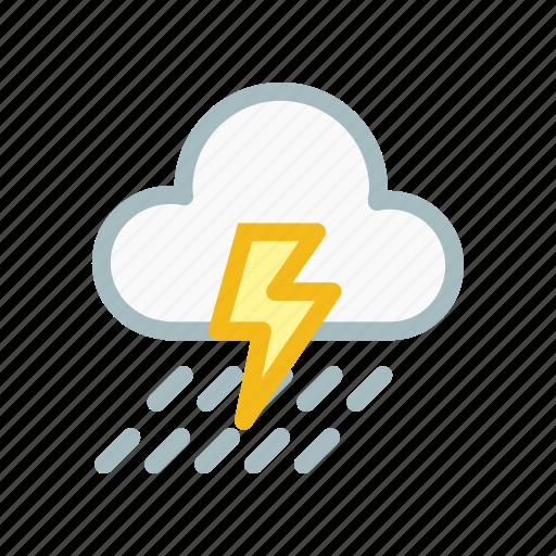 cloud, cloudy, forecast, lightning, rain, thunder, weather icon