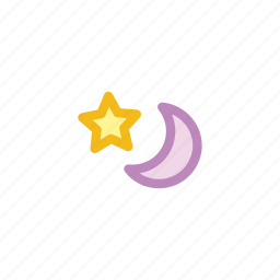 forecast, half, moon, night, star, thunder, weather icon