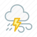 cloudy, forecast, lightning, lightningwind, thunder, weather icon