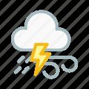 cloudy, forecast, lightning, lightningwind, thunder, weather icon