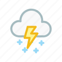 cloudy, forecast, lightning, snow, thunder, weather, wind icon