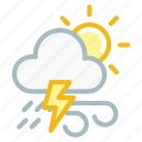 cloudy, forecast, lightning, sun, thunder, weather, wind