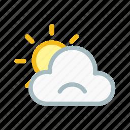 cloud, cloudy, patlysun, sad, sun, sunny, weather icon