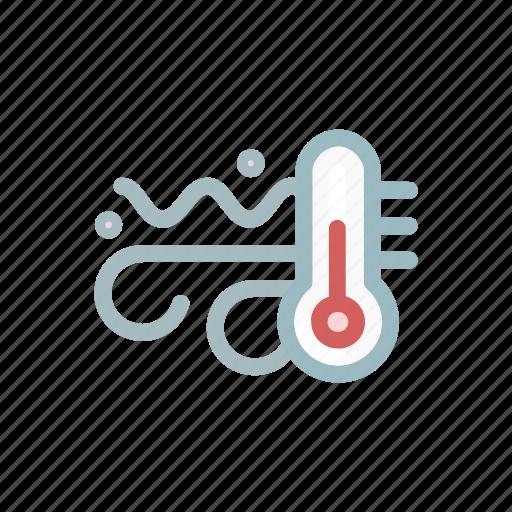 forecast, hill, mountain, sun, temperature, weather, wind icon