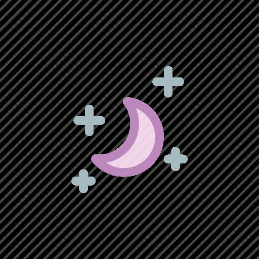 dark, galaxy, half, moon, night, star, weather icon