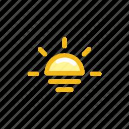 forecast, orange, sea, shine, sun, sunset, weather icon