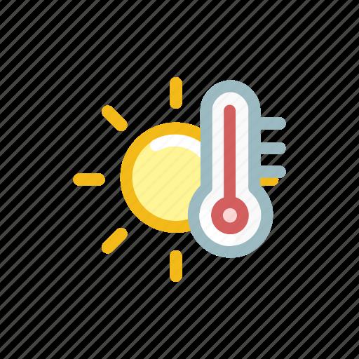 forecast, heat, measure, shine, sun, temperature, weather icon
