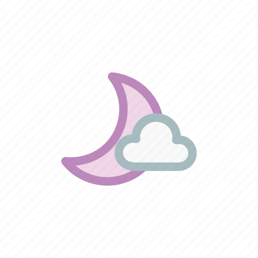 cloud, cloudy, half, moon, moonset, night, weather icon