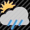 and, cloud, grey, rain, small, sun, with