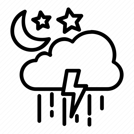 colud, electricity, moon, rain, star, weather icon