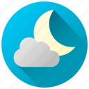 cloud cover, clouds, cloudy night, forecast, weather icon