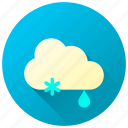 forecast, mixed weather, rainfall, snowfall, weather icon