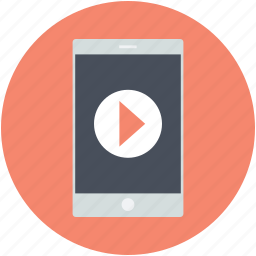 audio player, media player, mobile screen, music player, play sign, video player icon