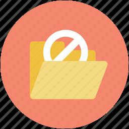 data organize, data safety, folder, no storage, stop sign icon