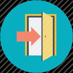 arrow indication, door, doorway, entrance, entryway icon