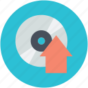compact disk, music upload, up arrow, upload sign, uploading icon