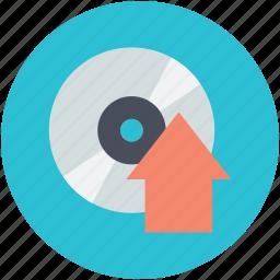 compact disk, music upload, up arrow, upload sign, uploading icon
