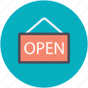 hanging sign, info, message, open sign, shop sign icon