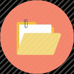 attach file, attachment to folder, computer folder, file folder, paper clip icon