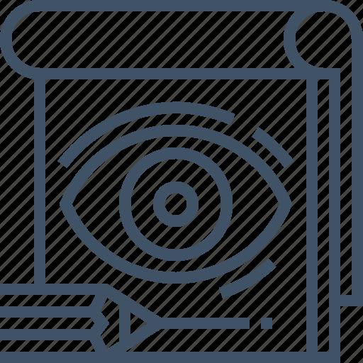 Eye, iris, notepad, pencil, sketching, visual icon - Download on Iconfinder