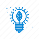 bulb, creative, idea, leaf icon