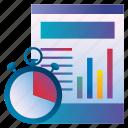 analytics, folder, graph, process, time, work icon