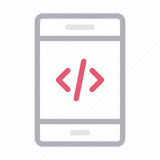 cell, coding, mobile, phone, programming icon